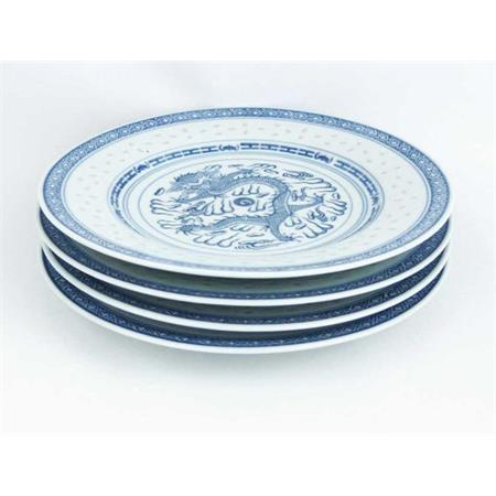 Chinese Blue & White Rice Grain Pattern Plate 10