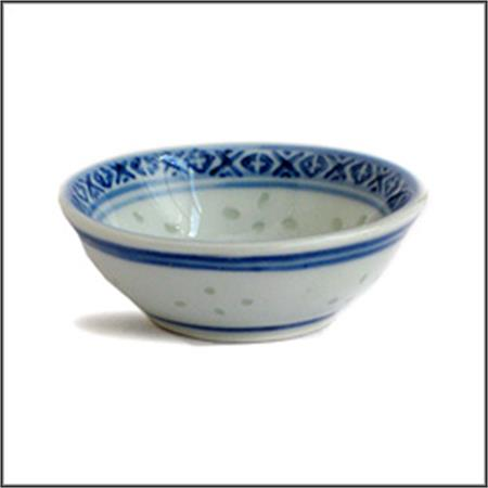 Chinese Blue & White Rice Grain Pattern Saucer 2.75