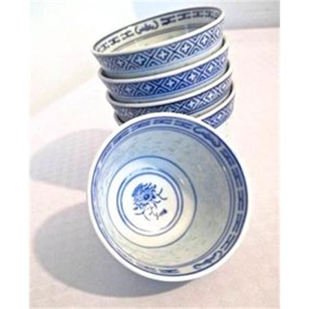 Chinese Blue & White Rice Grain Pattern Teacup