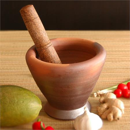 Lao Style Clay Mortar & Pestle 9